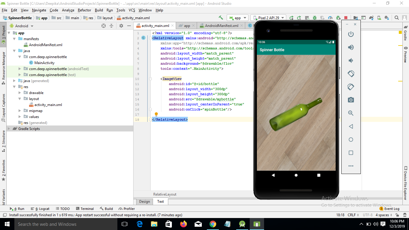 Create Spinner Bottle game App with Source code using android studio