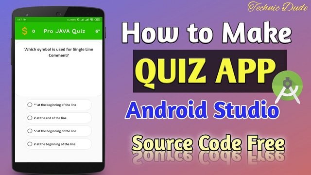 Quiz App in Android studio source code free – Android Tutorial