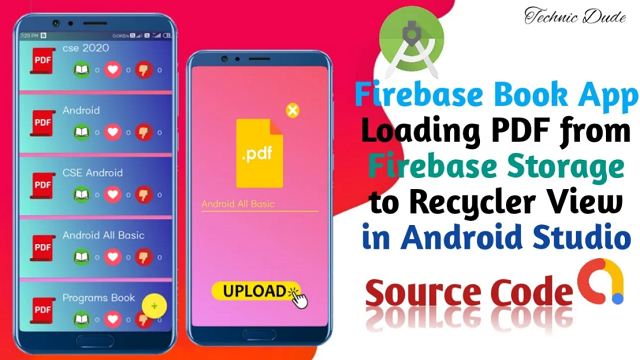 Native Android Pdf E-Books App with Firebase Back-end