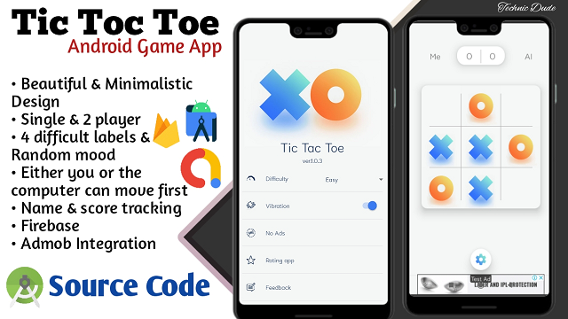 How to Make Tic Tac Toe Game App in android studio with source code