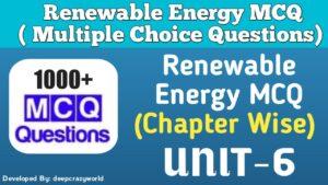 Renewable Energy MCQ (Geothermal Energy) Unit – 6